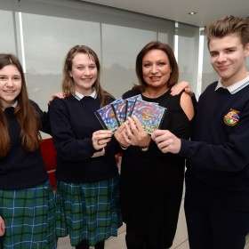 "**NO REPRO FEE**  25 Feb 2015;  Entrepreneur, publisher and broadcaster Norah Casey pictured with students from St. Aidan's Comprehensive School, Coothill, Cavan, (winner of the Marketing/Communications Category) who raised EUR1,000 by producing and recording a CD of favourite Christmas songs.  l-r; Amelie Dobelmann, 15, from Rockerry, Cavan, Elaine Cassidy, 15, and Brandon Lynch, 15, from Coothill, Cavan. Make-A-Wish ""Kids4WishKids"" Schools Entrepreneur Awards. Peter Mark College, South William Street, Dublin. Picture: Caroline Quinn"