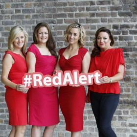 25/08/2015. Ireland's female celebrities came out in force to back the Irish Heart Foundation's (IHF) RED ALERT to the women of Ireland this September because more women die from heart disease and stroke in Ireland than any other cause of death, yet 90 percent of women don't know this. United against the no.1 killer of women, the ladies in red included campaign ambassador and publisher Norah Casey, RTE broadcaster Kathryn Thomas, Love/Hate actress Susan Loughnane, TV3 presenter Ciara Doherty and former Ireland Ladies Rugby captain Fiona Coghlan. A new survey commissioned by the national heart and stroke charity showed that only 1 in 5 women know that menopause is a risk factor for heart disease and stroke and 3 in 4 women believe more men than women die from heart disease. The RED ALERT campaign is supported by the HSE. Pictured are (LtoR) Campaign ambassadors Ciara Doherty, Fiona Coghlan, Kathryn Thomas and Norah Casey. Photography: Sasko Lazarov/Photocall Ireland