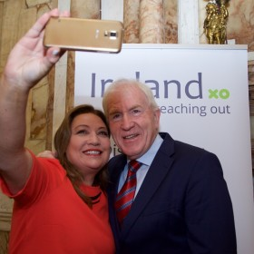Norah Casey and Minister Jimmy Deenihan at Iveagh House 16.06.2015